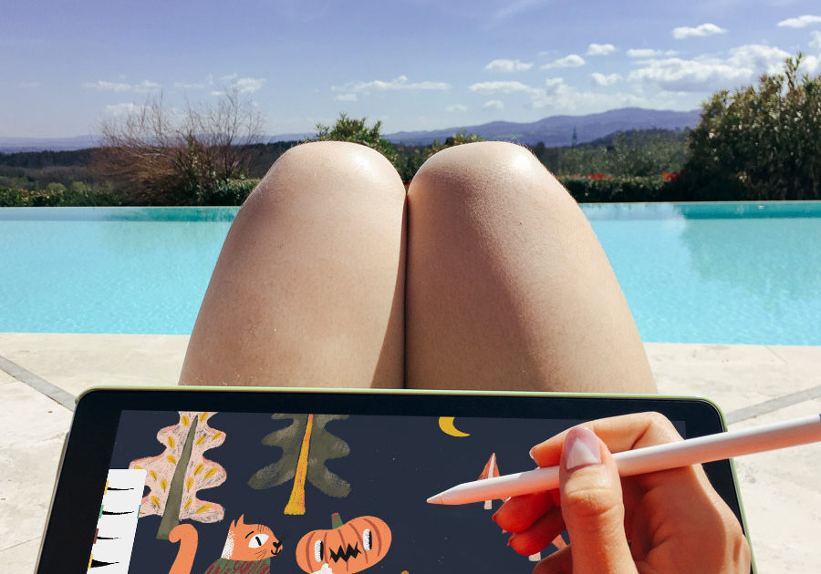 Drawing a Halloween illustration at the pool in Italy.